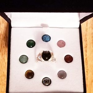 9 Healing Stones Sterling Ring Interchangeable